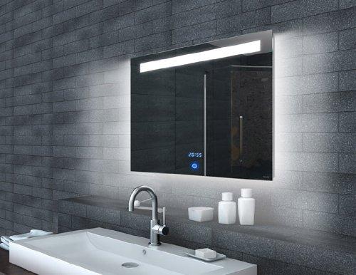 rmi-ByPack Specchio con Luce LED Orologio e Interruttore Touch, Alluminio, 140x65