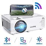 VicTsing Vidéoprojecteur WiFi avec Fonction de Bluetooth et Synchronisation d'écran, Projecteur Portable Hi-FI Stéréo Sonore, Compatible avec la clé TV, Ordinateur Portable, HDMI/VGA/SD/AV/USB