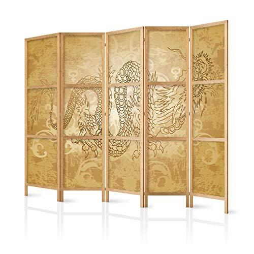 murando - Paravent XXL Drache 225x171 cm 5-teilig einseitig eleganter Sichtschutz Raumteiler Trennwand Raumtrenner Holz Design Motiv Deko Home Office Japan p-B-0005-z-c