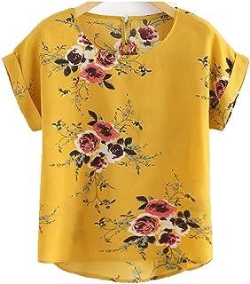 Fyuanmeiinsdxnv Womens tops summer Summer Floral Print Blouse Pullover Ladies O-Neck Tee Tops Female Women's Short Sleeve ...