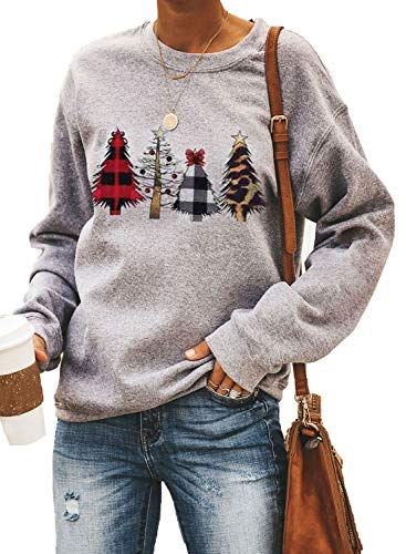 Sidefeel Women Christmas Printed Sweatshirt Holiday Graphic Pullover Tops Medium Gray-4011