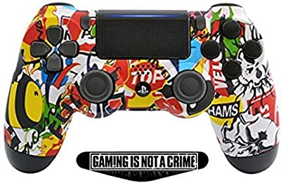 Sticker Bomb PS4 Rapid Fire Custom Modded Controller 40 Mods for All Major Shooter Games (ZCT2U) by ModdedZone