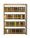 EMS Solid OAK Wood Spice Rack Organizer, 4 Tier Wall Mounted - Seasoning Storage for Pantry and...