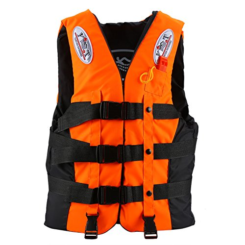 Life Jacket Life Vests Swimming Vest Buoyancy Aid Universal Swimming Boating Kayaking Life Vest+Whistle for Children and Adult (Orange, M 6-12 Years Old)