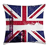 N/A Union Jack Throw Pillow Cushion Cover, Grungy Aged UK Flag Big Ben Double Decker Country Culture Historical Landmark, Decorative Square Accent Pillow Case, 18 X 18 Inches, Multicolor