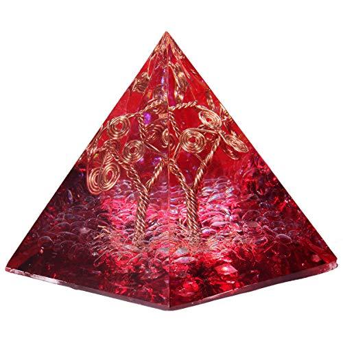 mookaitedecor Bergkristall Heilkristall Quarz Baum des Lebens Pyramide mit Rot Farbe, Baumform Reiki Symbol Positive Energiepyramide für EMF Schutz Meditation/Yoga/Heilchakra/Wohnkultur 50mm