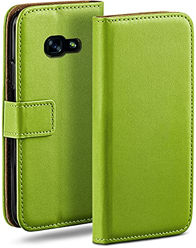 moex Klapphülle für Samsung Galaxy A5 (2017) Hülle klappbar, Handyhülle mit Kartenfach, 360 Grad Schutzhülle zum klappen, Flip Hülle Book Cover, Vegan Leder Handytasche, Grün