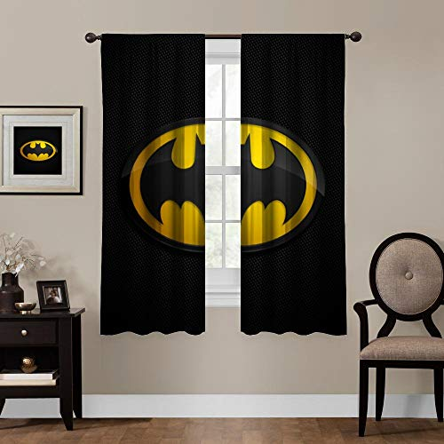 """Blackout Curtains, Batman (16), Rod Pocket Thermal Insulated Darkening Window Drapes for Bedroom, Cute Animal Boys Girls Room Décor, 55""""×63"""", 2 Panels"""