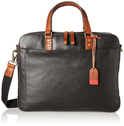 Fossil Herren Herren Tasche - Defender Double Zip Workbag Business Tasche Schwarz (Black)