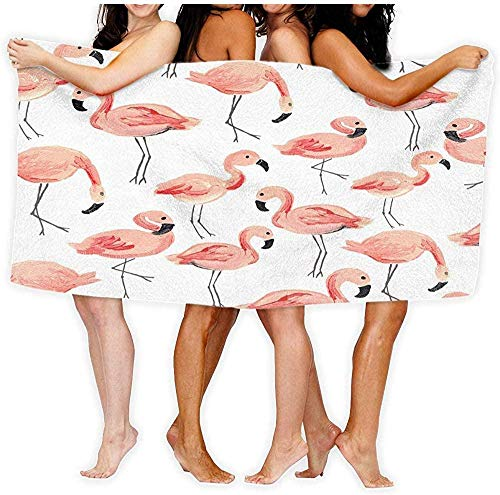 Toalla De Playa Microfibra,Toalla De Viaje De Secado Rápido A Prueba De Arena Toalla De Baño con Flamencos Rosados Envoltura Corporal para Baño Toalla De Playa 80×130cm
