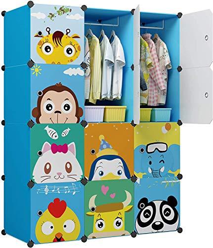 Sawekin Kinderregal mit Tiermotiv Kinder Kleiderschrank Kleiderstange Steckregal Bücherregal für Kinderzimmer DIY/Kunststoff Kleiderschrank Regalsystem mit 16 Würfeln (12 Würfeln Blau)