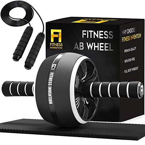 Fitness Invention Ab Roller Wheel  3in1 Ab Wheel Roller with Knee Mat and Jump Rope  Ab Roller Wheel for Abdominal Exercise  Ab Workout  Home Workout Equipment  Abs Wheel Roller  Abs Roller