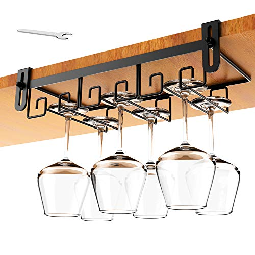 Hanging Wine Glass Rack Under Cabinet Mount, Metal Wine Glass Storage Hanger, Under Shelf Wine Glasses Rack, Black Stemware Holder Rack Under Cabinet Wine Glass Holder, Kitchen Under Shelf Storage