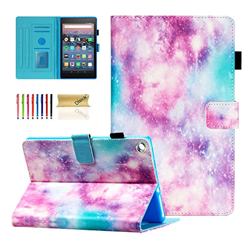 Dteck Case for Fire HD 8 Tablet (8' HD Display, 8th Generation & 7th Generation & 6th Generation), Fold Stand Protective Leather Wallet Slim Folio Cute Cover with Auto Sleep Wake /Stylus Pen (Galaxy)
