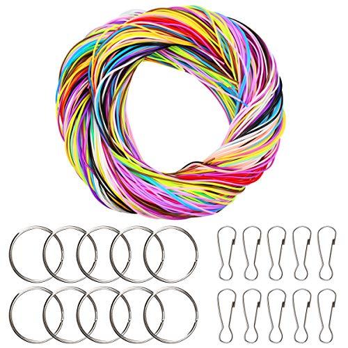 Kissral 200 PCS hilo Plastico, Cuerda, Cordón Plástico, Bastelset para para la Pulsera DIY, Joyería, 20 Colores