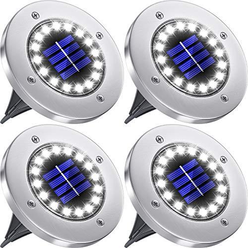 Biling Luces solares de Suelo,Luces solares de Disco para jardín al Aire Libre,lámpara iluminación de Paisaje en el Suelo de 16 LED,Luces solares Impermeables IP65 para Patio-Paquete 4(Blanco)