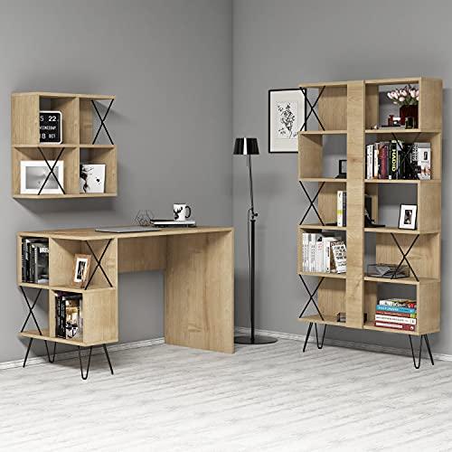 Skyedecom Oak 845HCT3833 - Escritorio de estudio y biblioteca de roble Le Noir para estaciones de trabajo informáticas Extra 2