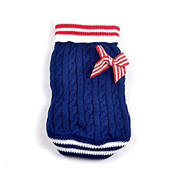 SMALLLEE_Lucky_Store Pull Pull-Overs Veste Vêtement Tricot Manteau d'hiver pour Chihuahua Petit Chien Chaton Chat Bleu Marine S