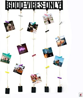 Art Street Good Vibes Only MDF Plaque Clip Photo Collage Hanging Frame with Wooden Clips (Black, 18.5 x 32 Inches)
