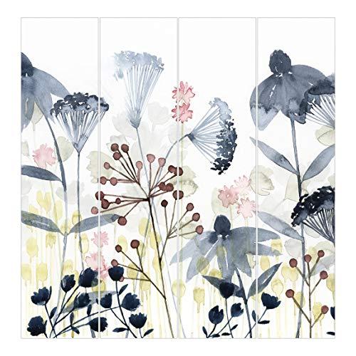 Cortinas Deslizables Impresa 4 Paneles japoneses Wildflower Watercolor I Sin Montaje 250 x 240cm
