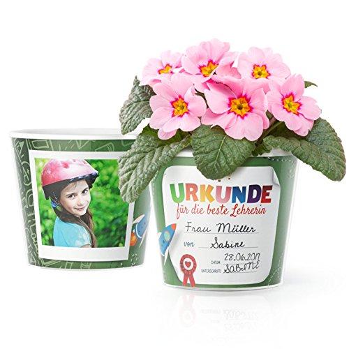 Facepot Urkunde Grundschule Blumentopf (ø16cm) | Abschied Geschenk für die Beste Lehrerin mit Rahmen für Zwei Fotos (10x15cm)
