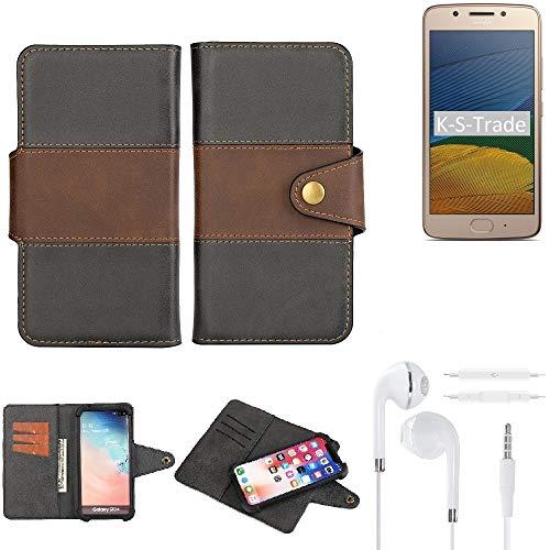 K-S-Trade Handy-Hülle Schutz-Hülle Bookstyle Wallet-Hülle Für Lenovo Moto G5 Single-SIM + Earphones Bumper R&umschutz Schwarz-braun 1x