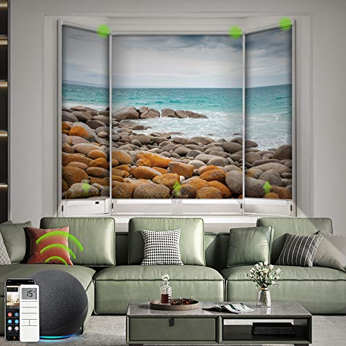 Yoolax Motorized Roller Shade with Pictures, Blackout Smart Window Blinds Works with Alexa Customized Size and Photo, Remote Electric Blinds with Automated Motor for Home Office (Sea)