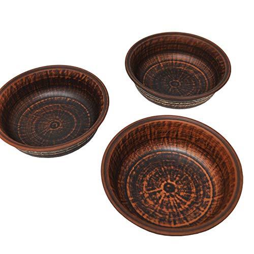 Juego de 3 platos de terracota – Engobe – 0,6 litros – Diámetro 18 cm – Hecho a mano – Ucrania