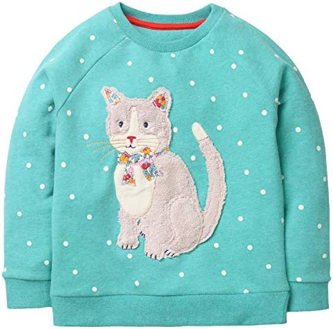 Toddler Girls Sweatshirt Clothes Outfit Cotton Cat Crewneck Christmas Clothing Blue Size 7T product image