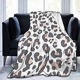 Bernice Winifred Manta de Microfibra Ultra Suave con Estampado Animal Estampado de Leopardo Gris Rubor Fabricada en Franela Anti-Pilling, más cómoda y cálida.80x60
