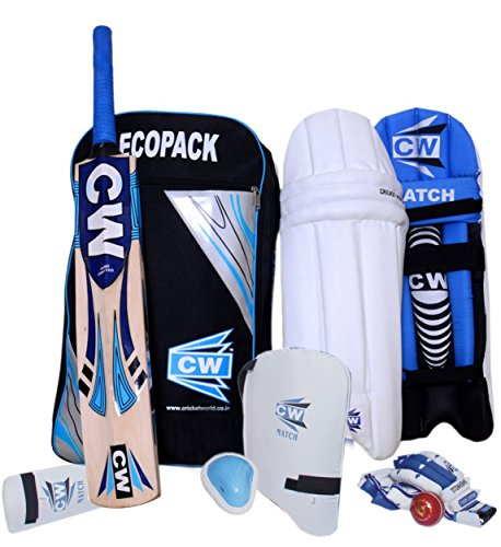 CW ECONOMY Cricket-Set Junior ohne Helm, Cricket-Set, Kaschmir-Weidenschläger, komplettes Zubehör-Set für Kinder, Größe 5 für 10-11 Jahre, alle Holz