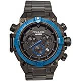 Mulco Buzo Dive Quartz Swiss Chronograph Movement Men's Watch | Premium Analog Display with Steel Accent | Steel Watch Band | Water Resistant Stainless Steel Watch (Black/Ion-Plated)