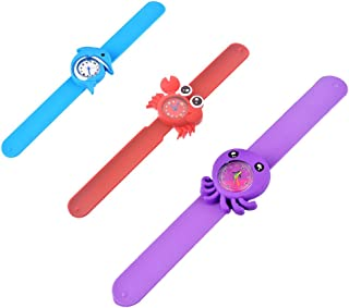 Souarts 3 Pack of Animals Slap Wrist Watches for Kids Rubber Snap Band Bracelet Analog Fun