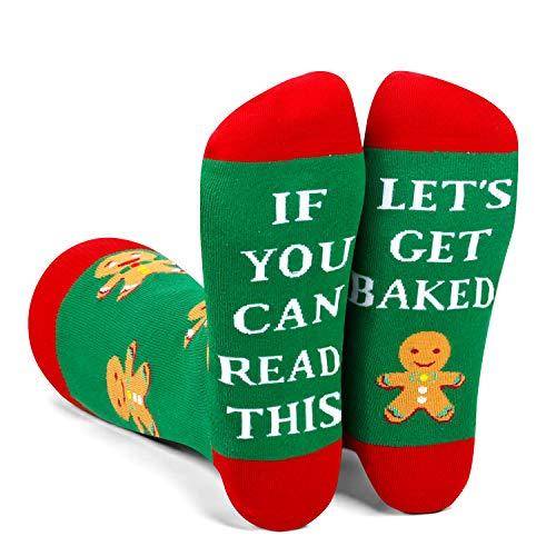 Zmart Men's Funny Saying Gingerbread Cookie Socks in Green, Fun Christmas Men Gift