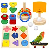 Airfleebax 鳥のおもちゃ インコ玩具 バードトイ オウム おもちゃ 遊び場 ペット用品 鳥用品 知育玩具 訓練玩具 咀嚼玩具 スケートボード フェルール バスケットボール 木製 マルチカラー 8点セット