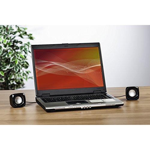 Hama PC Lautsprecher Sonic Mobil 181 (USB 3.0, 3,5 mm Klinke, 3 W, aktive Boxen für Computer, Laptop, Notebook, Smartphone, Tablet) schwarz/silber