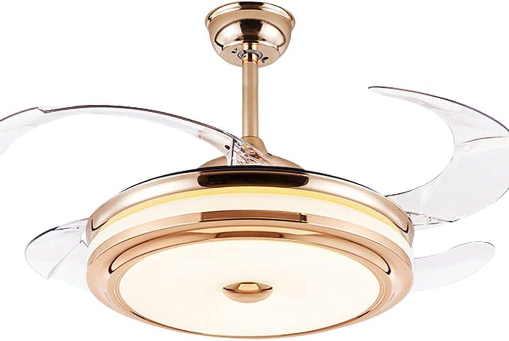 Ventilador De Techo Luz LED Control Remoto 72W 55-62 Pulgadas Bluetooth Con 3 Colores De Luz 3 Aspas Retráctiles Timmer Cambiar Dormitorio Sala De Estar,Dimming,5.2ft