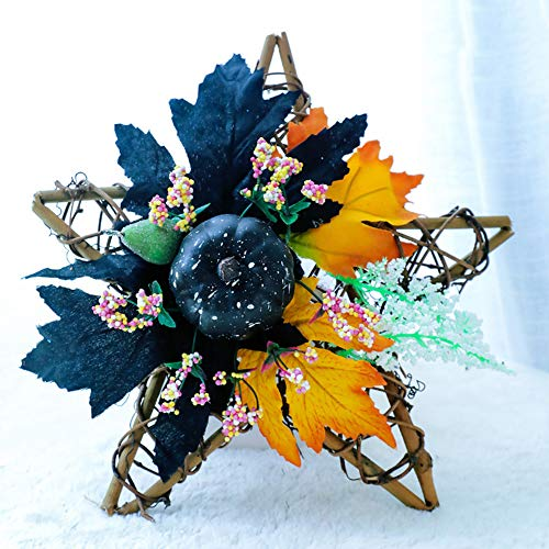 kgjsdf Fall Harvest Wreath, 11.8 Wooden Pentagram Rattan Wreath with Mini Blue Foam Pumpkin, Colored Berries and Maple Leaves, Thanksgiving Harvest Wreath for Front Door Table Wall Decor