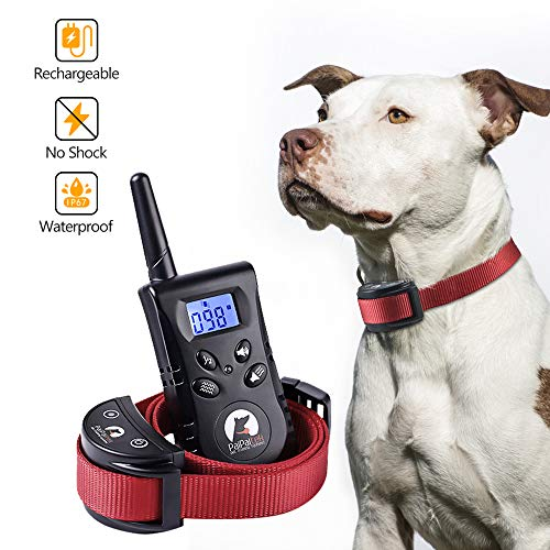 Paipaitek No Shock Dog Training Collar Remote Rechargeable Waterproof Vibration Beep No Bark No Prongs Behavior Aid 100 Levels LCD Screen (Red)