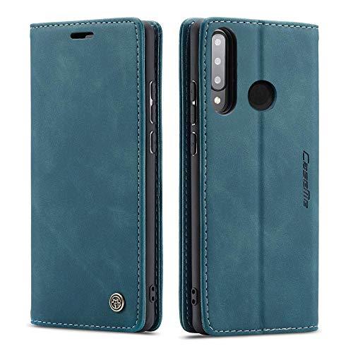CE Mall Hülle für Huawei P30 Lite, Leder Flip Handyhülle Schutzhülle Tasche Hülle mit [Magnetverschluss] [Standfunktion] [Kartenfach] für Huawei P30 Lite Hülle,für P30 Lite Handyhülle, Turquoise