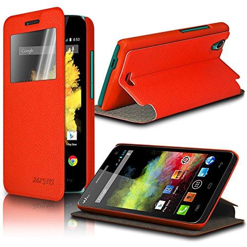Seluxion Schutzhülle S-View Standfunktion in Farbe Orange für Wiko Barry, mit Bildschirmschutzfolie