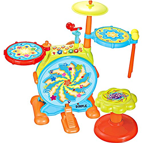 Dimple Electric Big Toy Drum Set for Kids with Movable Working Microphone to...