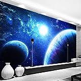 IWJAI Paredes Decoración Hogar Azul planeta ciencia ficción galaxia Fotomurales para Paredes Mural Vinilo Decorativo Decoración comedores,Salones, Habitaciones