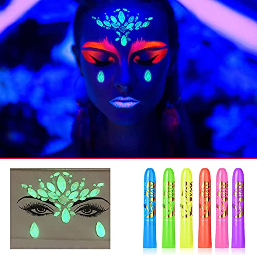 UV Neon Paint Kit for Face Body Black Light Glow Face Paints Crayons Makeup for Kids Adults Glow in The Dark Face Jewels Stickers for Mardi Gras Halloween Masquerades Birthday Blacklight Party