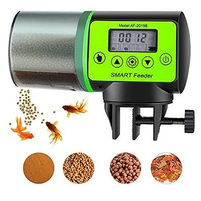 Kvantym Futterautomat für Fischfutter Große Kapazität 200ml Digitaler Timer LCD Anzeige Automatischer Fischfutterspender für Fisch Tank, Schildkröten Tank, Aquarium