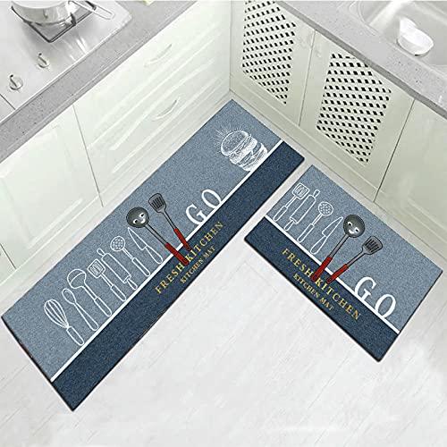 OPLJ Alfombras de Piso de impresión de Plantas de Color Alfombra Larga Lavable Antideslizante Sala de Estar balcón Alfombra de Puerta de Cocina Alfombra A1 40x60cm + 40x120cm