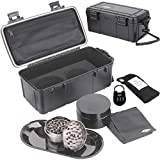 Waterproof Stash Box Combo with Lock – Steel Rolling Tray, 100 mL Airtight UV Smell Proof Jar, Premium Grinder with Magnetic Lid, Charcoal Bag, 2 Odorless Resealable Bags and Accessories Kit Pouch