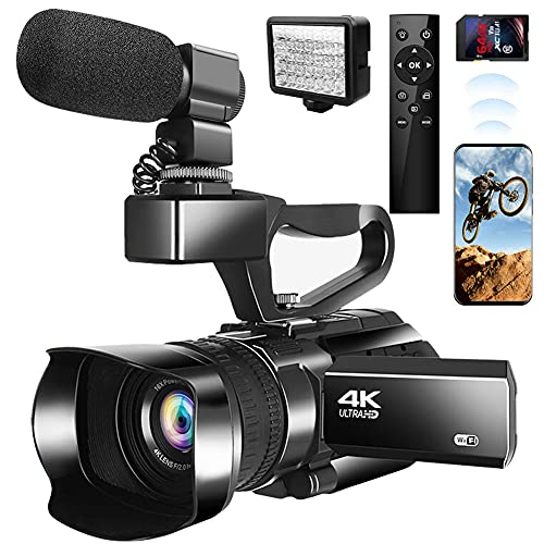 4K Video Camera Camcorder, Ultra HD 48MP 60FPS Vlogging Camera for YouTube 30X Zoom Digital Camera with Touch Screen,Microphone,Auto Focus,Remote Control…