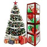 Caja transparente de 4 piezas Feliz Navidad, caja de globos, cajas de globos transparentes rojas con letras de Navidad, incluye 20 globos