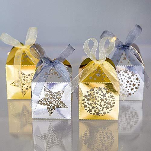 Naler 40 Caja de Regalo Caja de Caramelo Dulces Boda Fiesta Bautizo Comunión Navidad Color Dorado y Plateado (5x5x7,5cm)